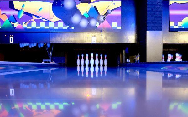 Inside bowling club