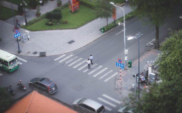 Aerial view of crosswalk