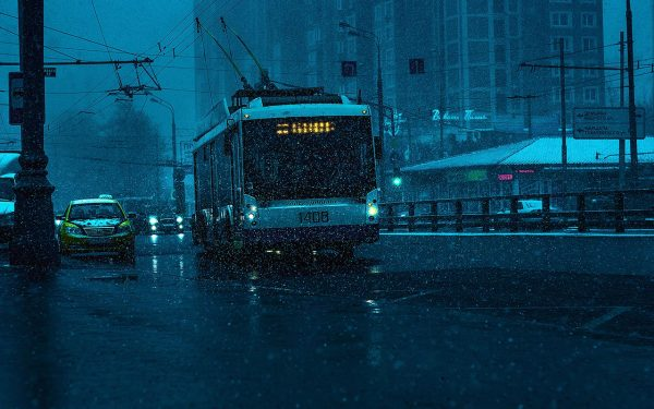 Bus in rainy evening
